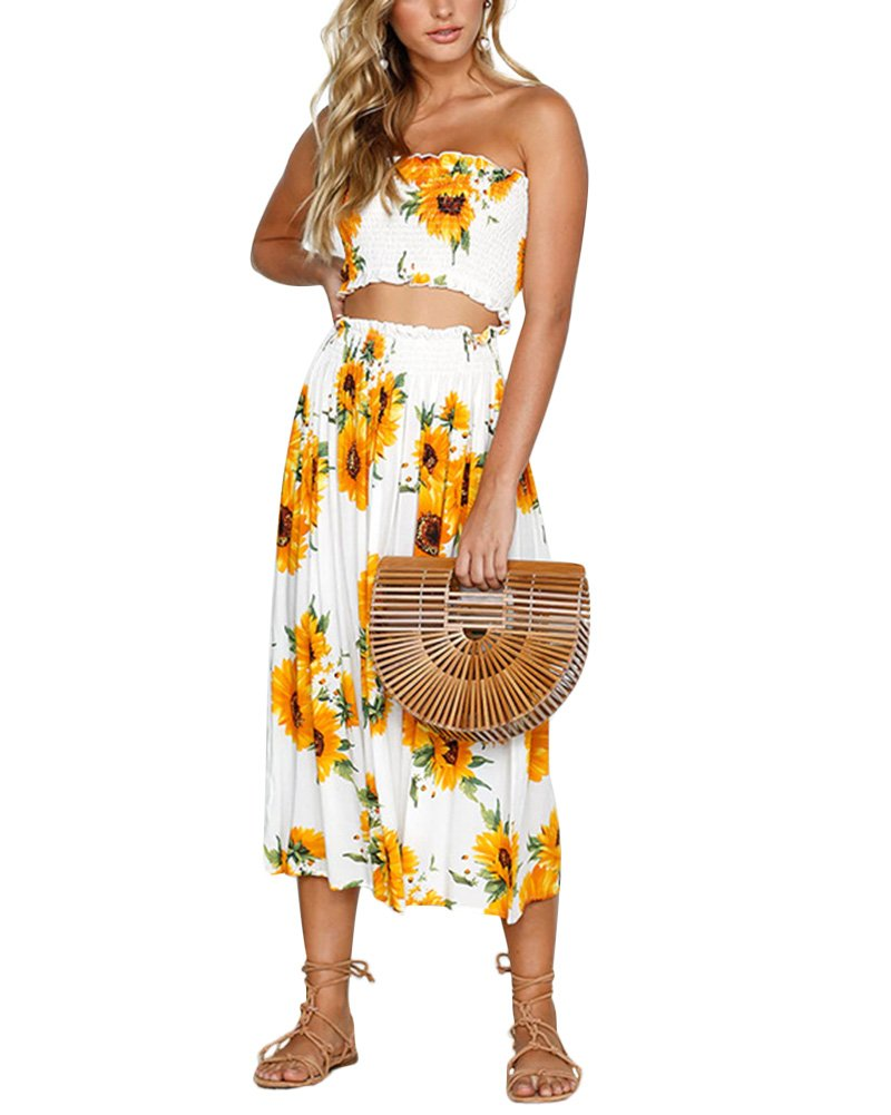 09adb31bc6d Women Summer 2 Piece Dresses Sexy Outfits Floral Off Shoulder Crop Top Maxi  Dresses Sunflower M