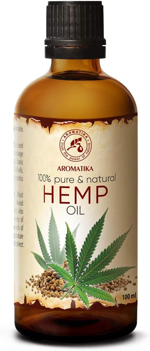 Aceite de Semillas de Cáñamo 100ml - 100% Puro y Natural - Aceite Base - Cannabis Sativa Seed Oil - Cuidado Intensivo para Rostro - Cuerpo - Cabello - Piel - para Masajes de Belleza