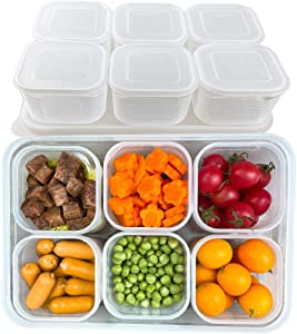 TeTeBak Food Storage Container Set With Lids - BPA Free Plastic Storage Containers for Pantry Organization and Storage With 6 PCS Mini Fridge Organizers for Refrigerator, Kitchen, Countertop