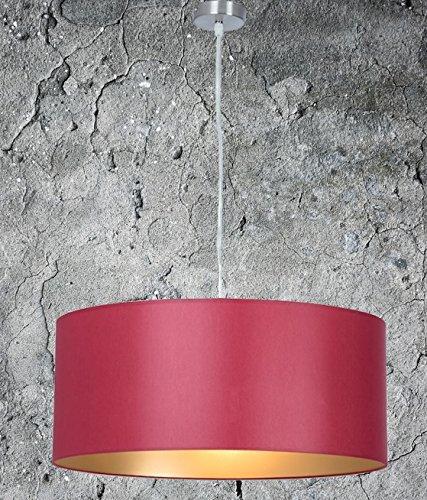 Hochwertige Hängelampe | Hängeleuchte aus Chintz Stoff | Rot Gold | XXL | Pendelleuchte | Wohnzimmer | Esszimmer | Schlafzimmer | Küche | Ø 55cm | Modern | LED geeignet | dimmbar |
