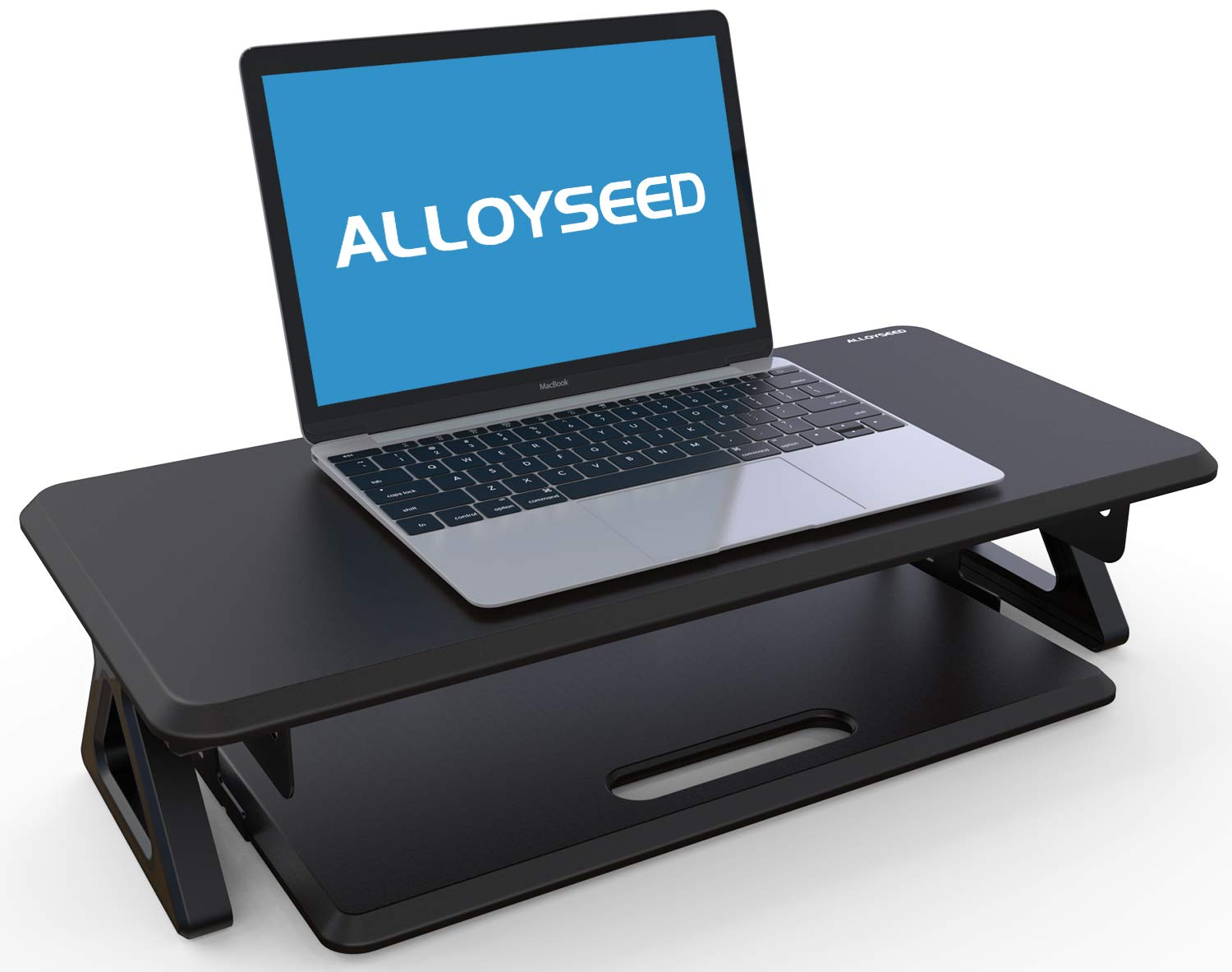 Alloyseed Monitor Stand Riser with Smooth in and Out Keyboard Tray, Laptop Computer Screen Desk Shelf for TV Printer 24.8'' x 11.8'' Desktop Organizer and Ergonomic Benefit