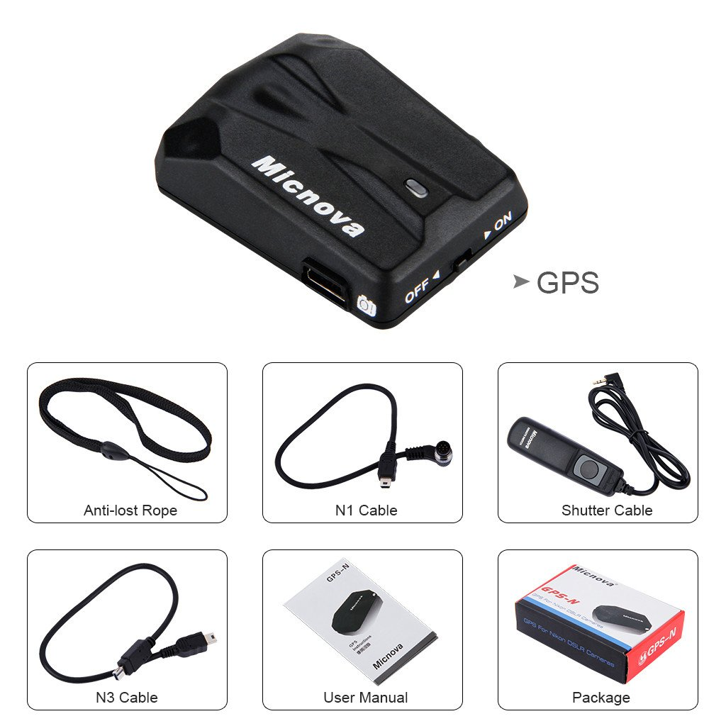 Micnova GPS-N Camera GPS Photo Locator with N1 N3 Cable for