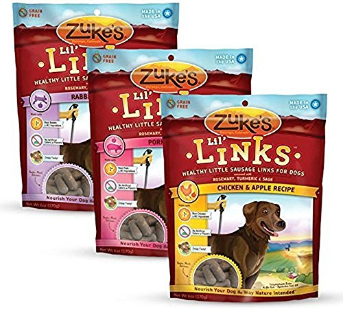 Zukes, Lil' Links, Grain Free Dog Treats, Economy Variety 3-Pack ......(6 oz each flavor) by Zukes Performance Pet