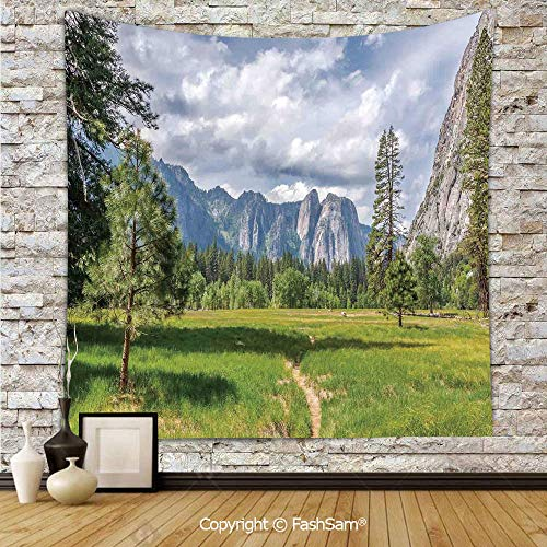 FashSam Tapestry Wall Blanket Wall Decor Yosemite Valley Meadows with Trees Fluffy Clouds Cliff Tourist Attraction Picture Home Decorations for Bedroom(W59xL90)