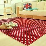 Ustide Red Polka Dots Livingroom Area Carpet Coral Fleece Soft Rug Memory Foam Rugs Set Modern Bedroom Carpet...