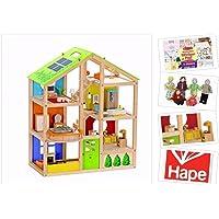 Holz-Puppenhaus von Hape 4 Jahreszeiten inkl. Möbel, 35 Teile. Mit Puppenset & Stickerblock. Puppenstube mit Stoffpuppen-Familie für Kreativität & Fürsorge. Holzpuppenhaus Sonderedition!