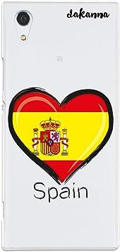 dakanna Funda Compatible con [Sony Xperia XA1] de Silicona Flexible, Dibujo Diseño [Bandera españa con Escudo en corazón], Color [Fondo Transparente] Carcasa Case Cover de Gel TPU para Smartphone: Amazon.es: Electrónica