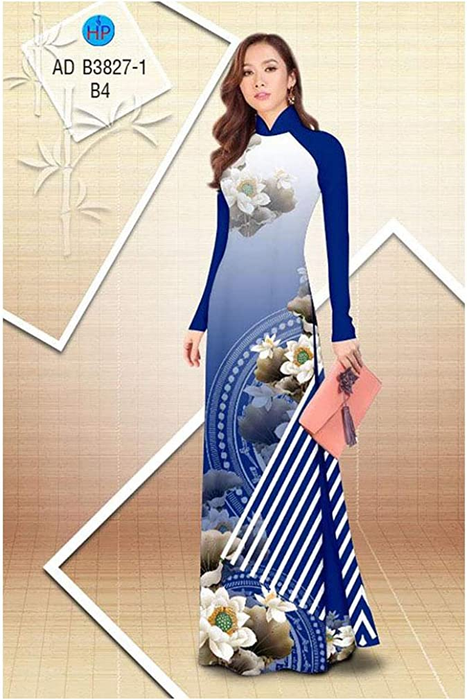 Traditional Vietnamese Long Dress Collections with Pants Silk 3D ADVN3D292 Ao Dai