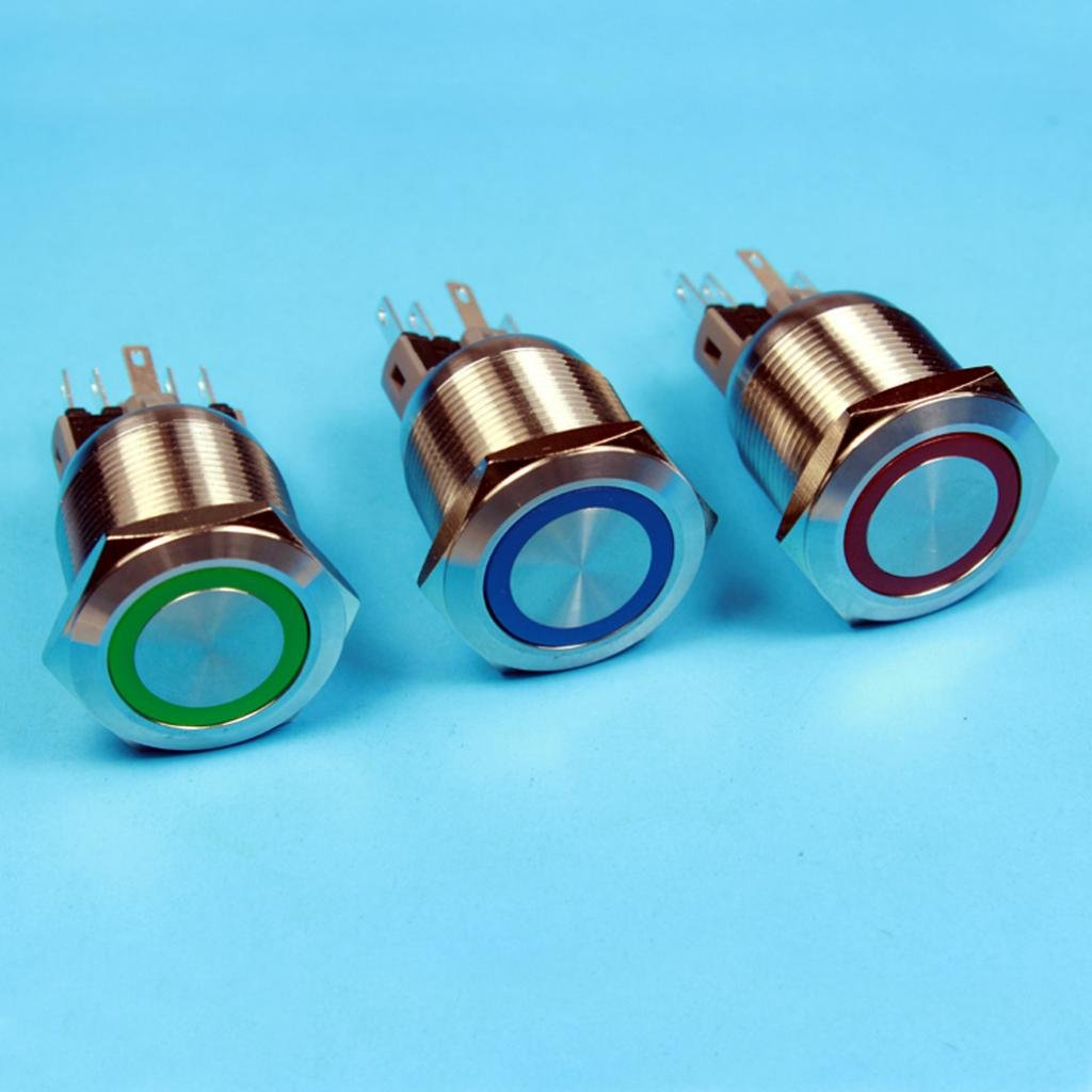 Red Almencla DC12V 25mm Ring Led Metal Momentary Push Button Switch Car DIY Switch