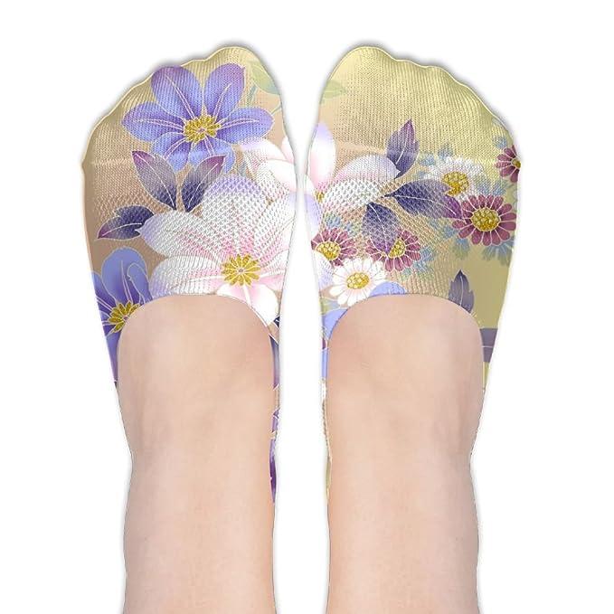 92e7f86744f8ed Flowers Floral Soft Cotton No-show Socks Compression Kawaii Low Cut Socks  For Men