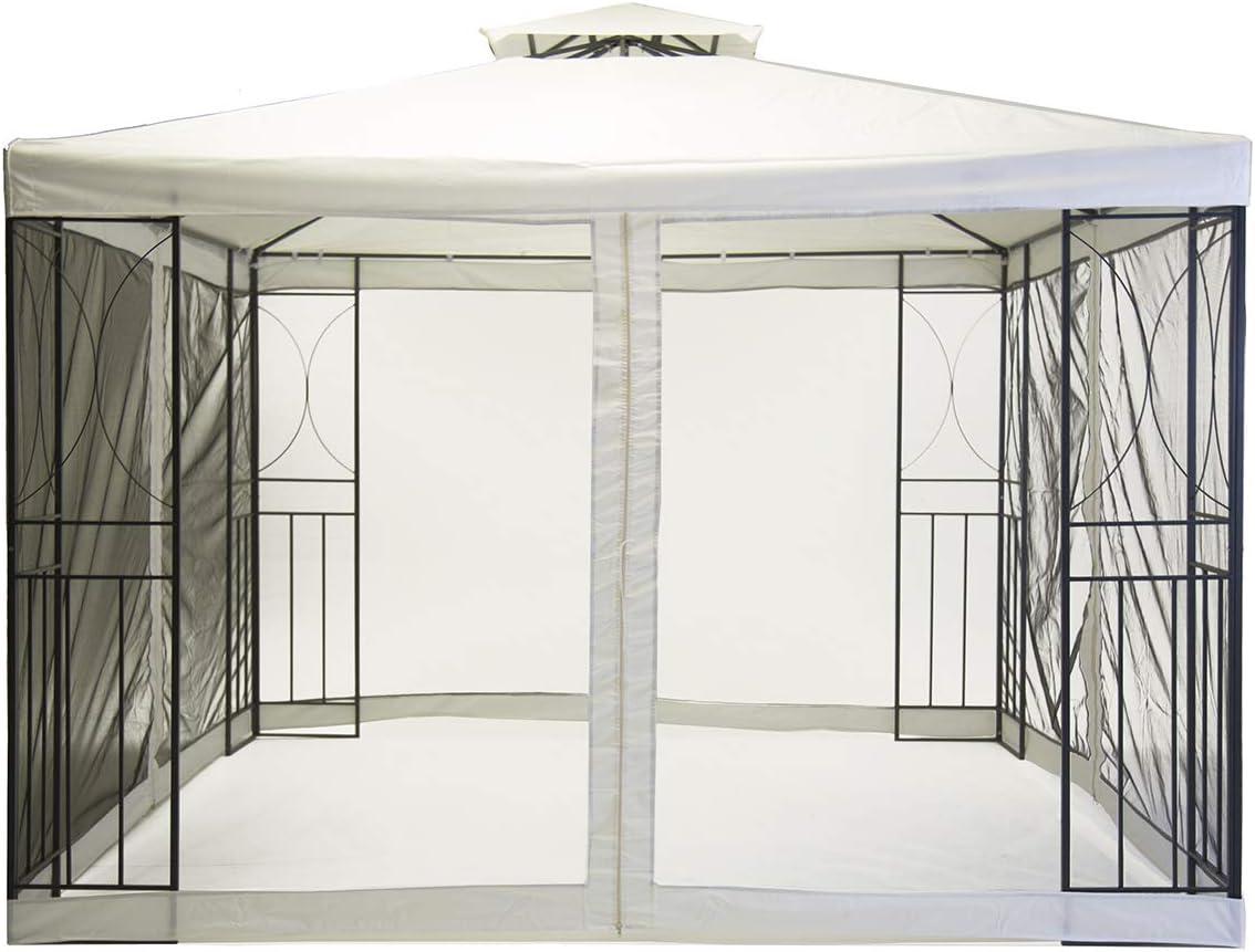Charles Bentley 3m x 3m Carpa Arte Acero Partido Gazebo Crema Con pantalla mosca: Amazon.es: Jardín