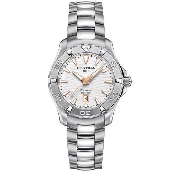 Reloj Certina DS Action Lady C0322511101101 COSC Blanco Brazalete Acero