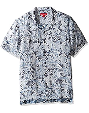 Men's Classic Short Sleeve Rayon Button-up Woven Shirt