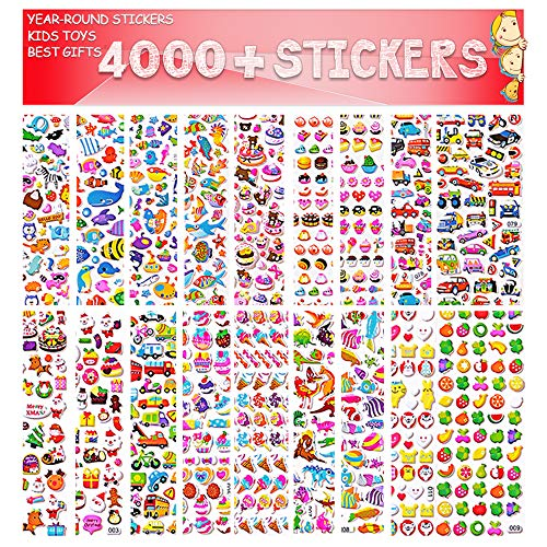Stickers for Kids, 3D Stickers, Kids Scrapbooking, 4000+ Pieces, 80 Different Sheets Back to School Sticker Variety Pack Including Animals, Foods, Smiley Faces, Cars More, Christmas and - Scrapbooking Back