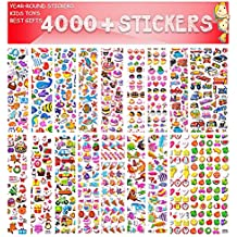 Stickers for Kids, 3D Stickers, Kids Scrapbooking, 4000+ Pieces, 80 Different Sheets Back to School Sticker Variety Pack Including Animals, Foods, Smiley Faces, Cars More, Christmas and Halloween!