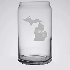 Michigan I Like It Here Beer Can Glass