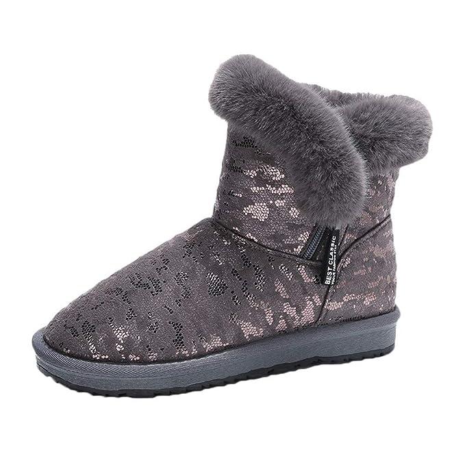 Botas para mujer, botas de invierno cálidas para la nieve con estilo Zapatillas planas con flecos Botines Classic Chunky Zip Antideslizantes Zapatos ...