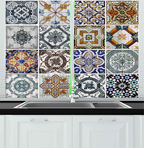 Antique Kitchenware (Ambesonne Kitchen Decor Collection, Antique Style Classic Tiles Pattern Folkart Kitchenware Home Design Patchwork Image, Window Treatments for Kitchen Curtains 2 Panels, 55X39 Inches, Blue White Green)