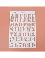 2 tipos de plantillas de letras con números de alfabeto, 27,5 x 19