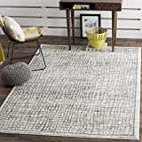 Safavieh Adirondack Collection ADR103B Silver and Ivory Modern Distressed Area Rug (6′ x 9′)