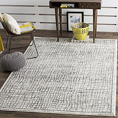 Safavieh Adirondack Collection ADR103B Silver and Ivory Modern Distressed Area Rug (4' x 6') - The high-quality polypropylene pile fiber adds durability and longevity to these rugs The power loomed construction add durability to this rug, ensuring it will be a favorite for a long time The modern style of this rug will give your room a contemporary accent - living-room-soft-furnishings, living-room, area-rugs - 61aP9EgBRhL. SS400  -