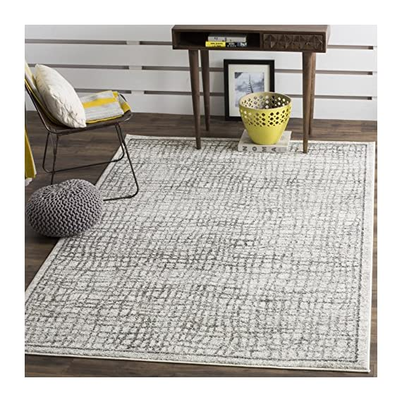 Safavieh Adirondack Collection ADR103B Silver and Ivory Modern Distressed Area Rug (4' x 6') - The high-quality polypropylene pile fiber adds durability and longevity to these rugs The power loomed construction add durability to this rug, ensuring it will be a favorite for a long time The modern style of this rug will give your room a contemporary accent - living-room-soft-furnishings, living-room, area-rugs - 61aP9EgBRhL. SS570  -