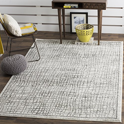 Safavieh Adirondack Collection ADR103B Silver and Ivory Modern Distressed Area Rug (10′ x 14′)