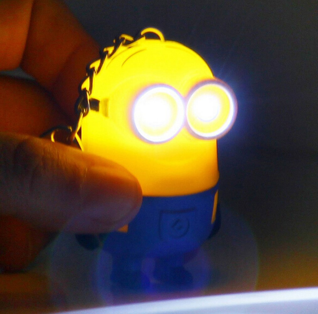 durable modeling Ebuyingcity Despicable Me Minion Toy Rubber KeyChain 3D Eyes PVC Figure Flashlight w/ Sound