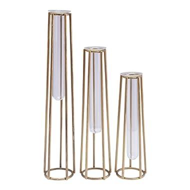 Floor 9 Glass and Metal Vases (Asst. Set of 3)