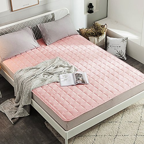Lightweight Mattress Topper, Single Double Bed Mattress Tatami Mattress Bedroom Dormitory Removable Cover Mattress Pad-pink 90x200cm(35x79inch) by SANDM