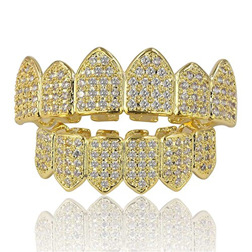 JINAO 18K Gold Plated Macro Pave CZ Iced-Out Grillz with Extra Molding Bars Included (Gold Set)