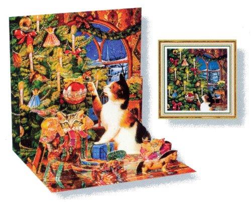 Christmas Greeting Card Mischief Cat Pop-Up - Reindeer Cat