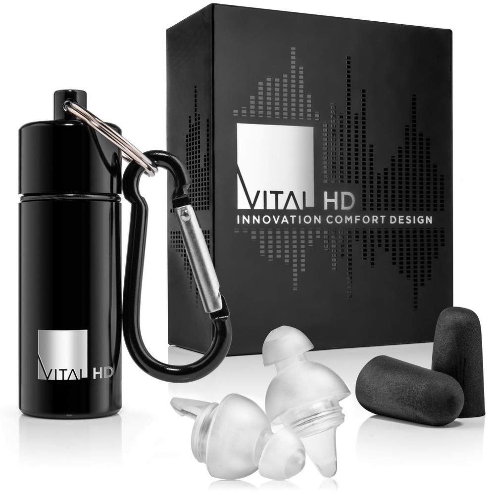 High Fidelity Concert Ear Plugs with Latest Acoustic Technology, Invisible Earplugs with Comfort Fit for Musicians, DJs, Music Festivals, Motorcycle, etc - Premium Gift Box, by Vital HD