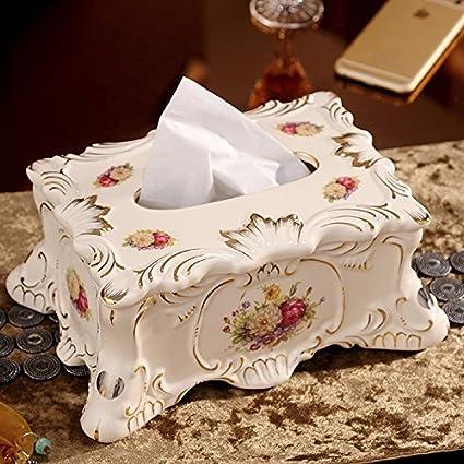 KHSKX-Toalla De Papel Caja De Ceramica Europea Salon Mesa Servilleta Box Baño Decoracion Casa
