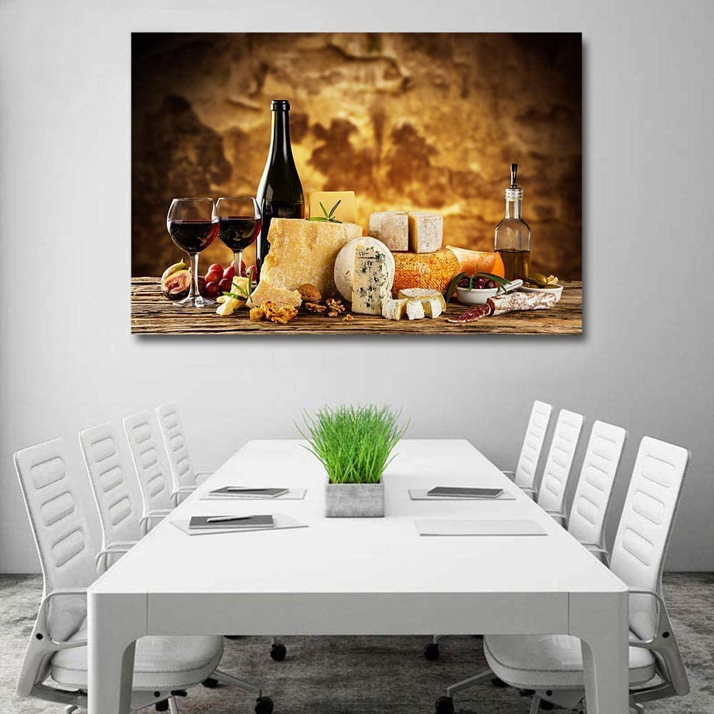 Kitchen Food Red Wine Canvas Poster and Wall Art Picture Print Modern Paintings for Family Living Room Decor (24x36inch,Unframed)