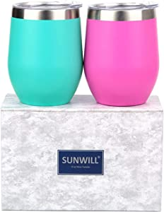 SUNWILL Insulated Wine Tumbler with Lid (Teal & Magenta 2 pack), Stemless Stainless Steel Insulated Wine Glass 12oz, Double Wall Durable Coffee Mug, for Champaign, Cocktail, Beer, Office use