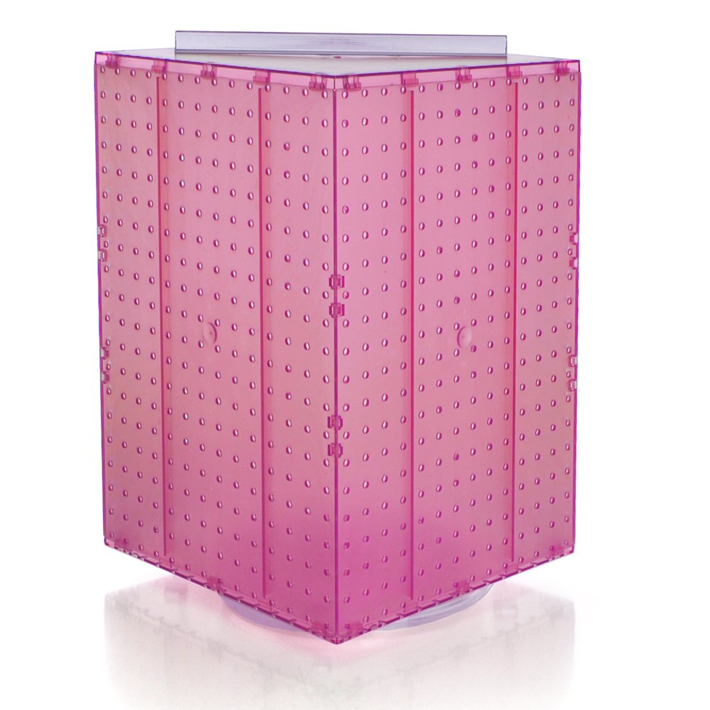Azar 701414-PNK Pegboard 4-Sided Revolving Counter Display, Pink Translucent Color