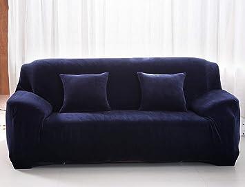 Aisaving Funda de sofá Gruesa de Terciopelo 1 2 3 4 plazas Funda de sofá elástica Antideslizante para Silla de Paseo o sofá, Azul Oscuro, 3 ...