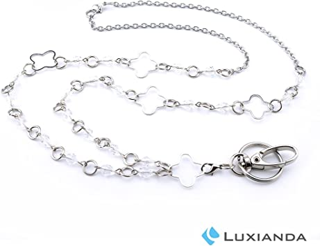 Stainless Steel Chain LUXIANDA Rings Lanyard Necklaces Badge Holder Name Lanyards for Women