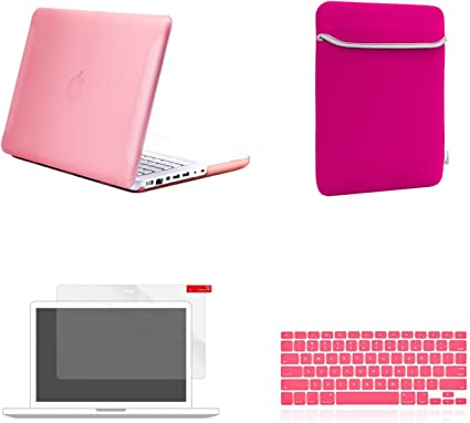 """NEW Rubberized Royal Blue Hard Case Cover for Macbook White 13/""""  A1342"""