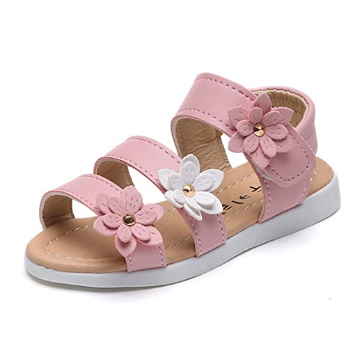 5a84d226c0ec7 Gaorui Comfy Kids Girls Ankle Strap Flower Beach Sandals Soft Leather Flat  Casual Shoes Pink