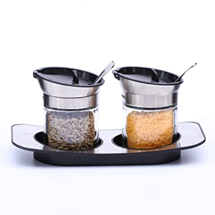 Tarro de salsa de chile de vidrio transparente Jam jar Sazonador jarra de sal conjunto Botella