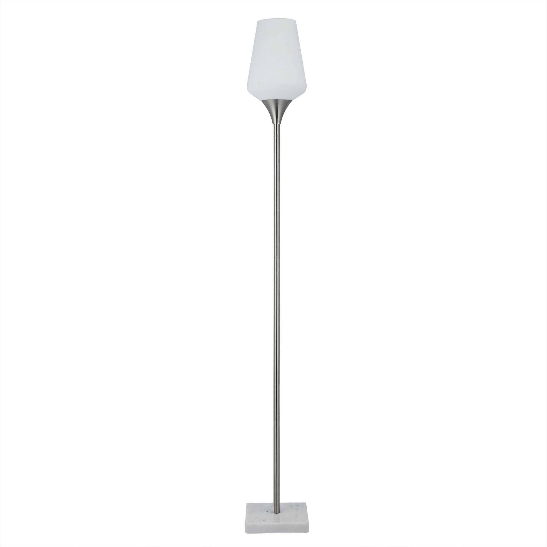 CO-Z LED Floor Lamp, Modern Brushed Nickel Torchiere Floor Lamp for Bedroom Living Room Corner, Bright Uplight Standing Pole Lamp with Marble Base and Opal Tulip Glass Shade for Bedside Console Table