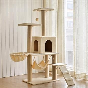 ZHENGDY Gatos Árbol,Felpa Gatos Rascador Gatos Centro De Actividad,Superficie Cubiertas Natural Sisal Rascador para Gatos Juguetes,A-2: Amazon.es: Hogar