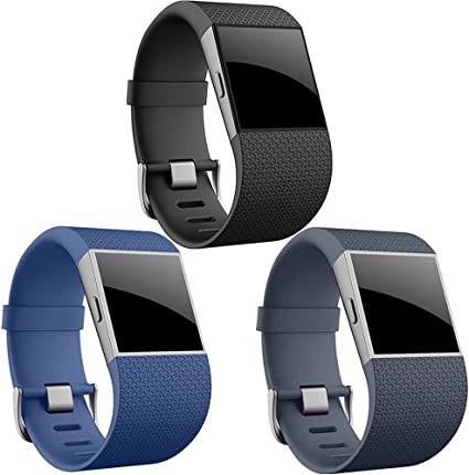 Fitbit Surge replacement band with tool WITH BUCKLE Large only Black