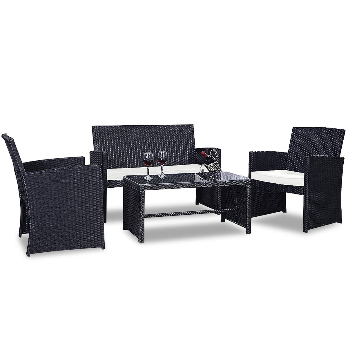Patio furniture set garden lawn pool backyard outdoor sofa wicker conversation set with weather resistant cushions and tempered glass tabletop black