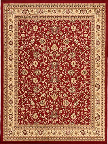 (Unique Loom Kashan Collection Traditional Floral Overall Pattern with Border Burgundy Area Rug (9' 10 x 13' 0))