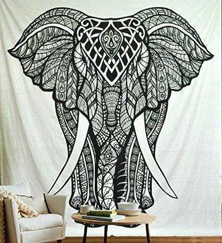 Jaipurhandloom Christmas Gift Elephant Tapestries , Black &