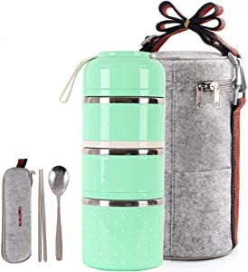 HOMESPON Lunch Box Stainless Steel Bento Box Insulated Lunch Bag Food Container Storage Boxes with Cutlery for Kids Children Teenager Adults Office School Camping (green-3 tiers)