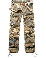 Semen Homme Vintage Cargo Pantalon Camouflage Multi Poches Trousers Militaire Casual Slim Fit Solide